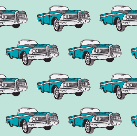 1959_Edsel Corsair convertible aqua on mint fabric by edsel2084 on Spoonflower - custom fabric