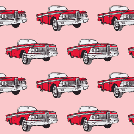 red 1959 Edsel Corsair convertible on pink background fabric by edsel2084 on Spoonflower - custom fabric