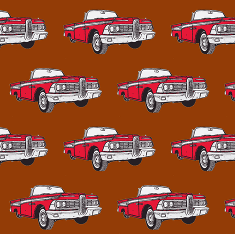 Red 1959 Edsel Corsair convertible on brown background fabric by edsel2084 on Spoonflower - custom fabric