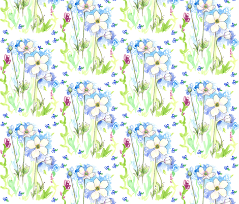 White Windflower fabric by countrygarden on Spoonflower - custom fabric