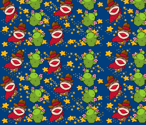 cowboy sockmonkey fabric by shellypint on Spoonflower - custom fabric