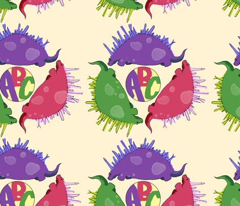 alphabetsaurus fabric by beccamaezing on Spoonflower - custom fabric