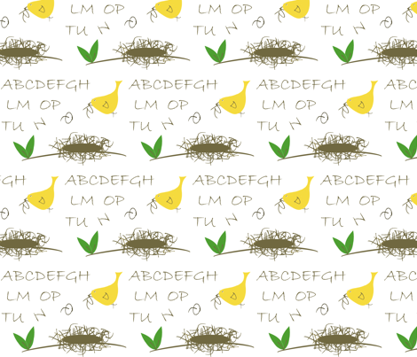Twiggy Alphabet Nest fabric by aa on Spoonflower - custom fabric