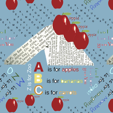 A Is For Teacher's Apple fabric by petals_fair_(peggy_brown) on Spoonflower - custom fabric