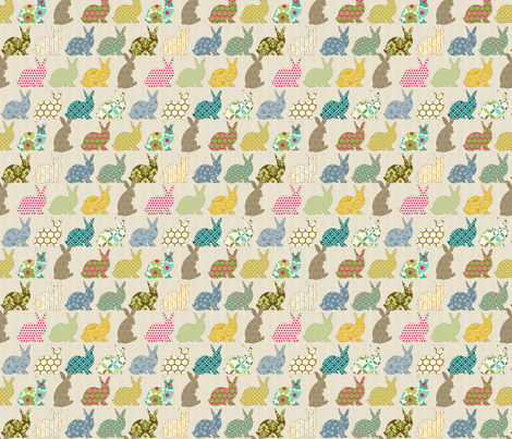 year of the colorful rabbit mini scale fabric by littlerhodydesign on Spoonflower - custom fabric