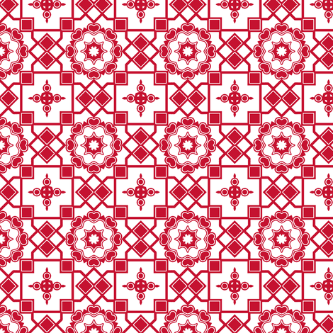 Scarlet Hearts in my Window . fabric by rhondadesigns on Spoonflower - custom fabric