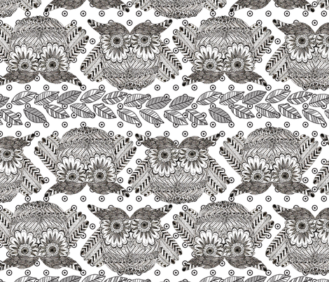owls_in_dots_white fabric by nadja_petremand on Spoonflower - custom fabric