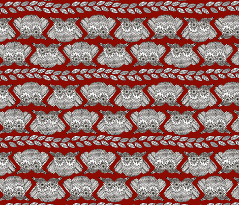 owls_in_red_S fabric by nadja_petremand on Spoonflower - custom fabric