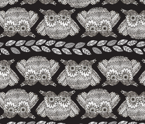 owls in black without default fabric by nadja_petremand on Spoonflower - custom fabric