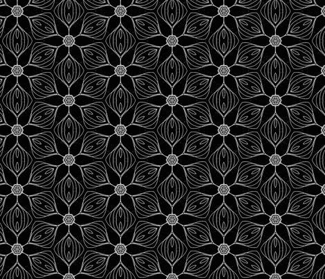 black white flowers fabric by heikou on Spoonflower - custom fabric