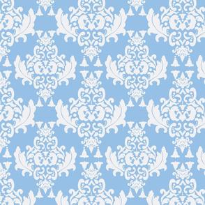 White on Blue Damask