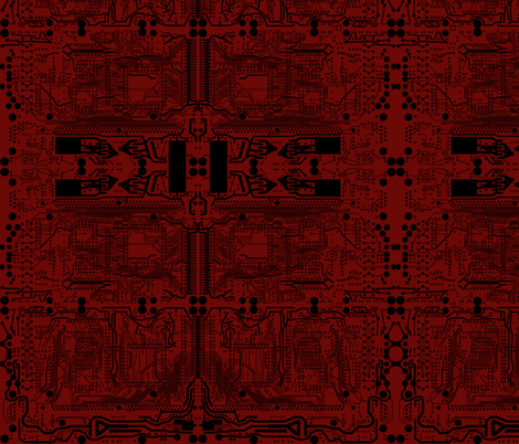Mirror Circuit - Red and Black fabric by fluffygeek on Spoonflower - custom fabric