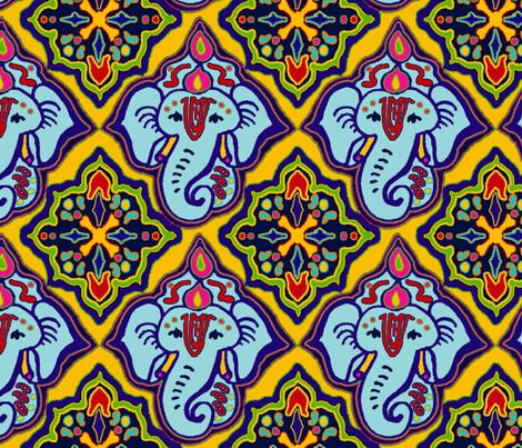 Ele_Boo_Blue_Ganesh_Big fabric by elephant_booty_studio on Spoonflower - custom fabric