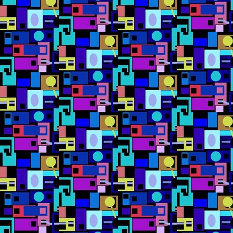 Blue City at Night fabric by boris_thumbkin on Spoonflower - custom fabric