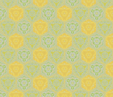 Daffodil Yellow and Green Tiled Pattern © Gingezel™ 2009 fabric by gingezel on Spoonflower - custom fabric