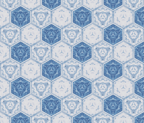 Hexagonal Tile Geometric in Spring Beauty Blue © 2009 Gingezel Inc. fabric by gingezel on Spoonflower - custom fabric