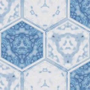 Hexagonal Tile Geometric in Spring Beauty Blue © 2009 Gingezel Inc.