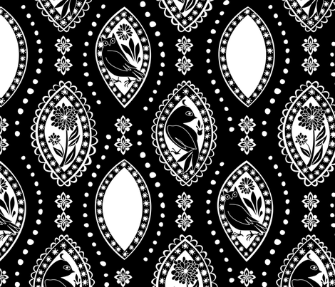 Spanish Eyes - White on Black fabric by fuzzyskyfabric on Spoonflower - custom fabric