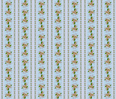 Roses Antique blue stripe fabric by joanmclemore on Spoonflower - custom fabric