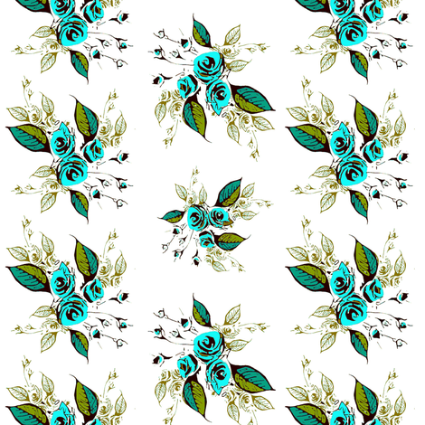 Roses Antique teal sprays fabric by joanmclemore on Spoonflower - custom fabric