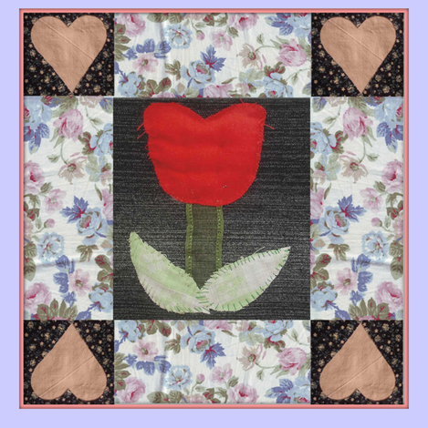 The tulip and the 4 hearts fabric by mimi&me on Spoonflower - custom fabric