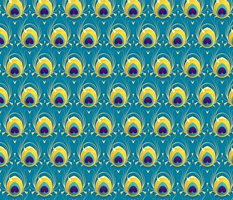 Peacock Feathers: Blue fabric by jennyariane on Spoonflower - custom fabric