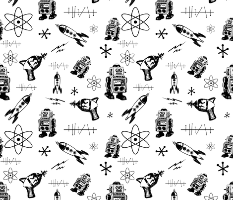 Black and White Retro Space fabric by poetryqn on Spoonflower - custom fabric
