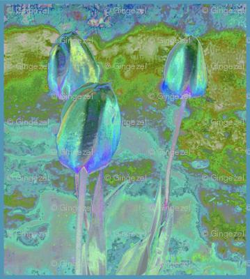 Impressionist Tulips in Aqua © 2009 Gingezel™ Inc.