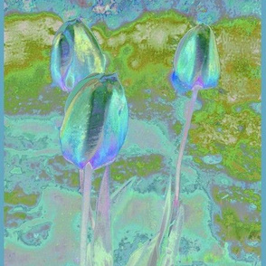Impressionist Tulips in Aqua © 2009 Gingezel™ Inc.