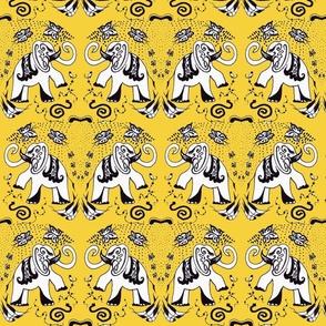 Sunny Yellow Elephants Medium India delight