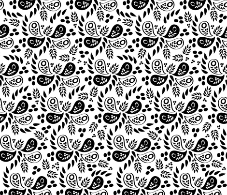 Black and White Paisleys fabric by robyriker on Spoonflower - custom fabric