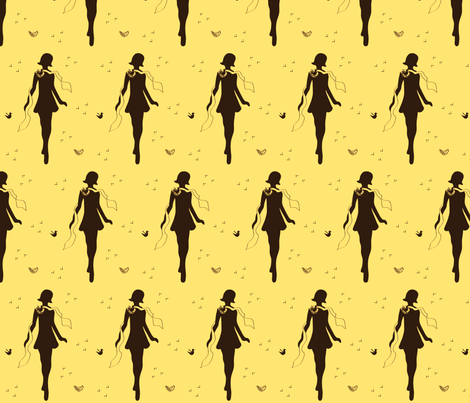 Yellow Flapper fabric by annalisa222 on Spoonflower - custom fabric