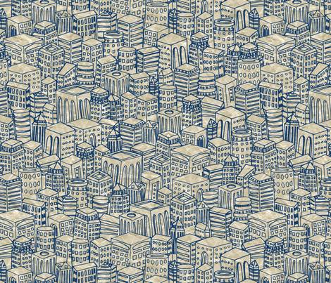 Floating Across the Tops of Cities (Notebook) fabric by leighr on Spoonflower - custom fabric