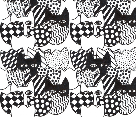 Black and White Cats N Tulips fabric by joycemj on Spoonflower - custom fabric