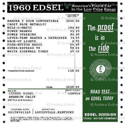 1960 Edsel window sticker