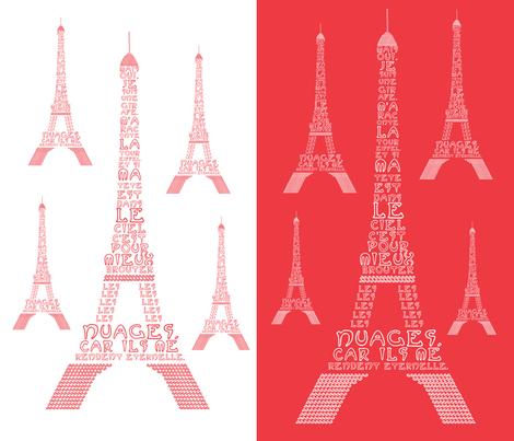 "Poem ""La Tour Eiffel"" by Maurice Carème fabric by geraldine_adams on Spoonflower - custom fabric"