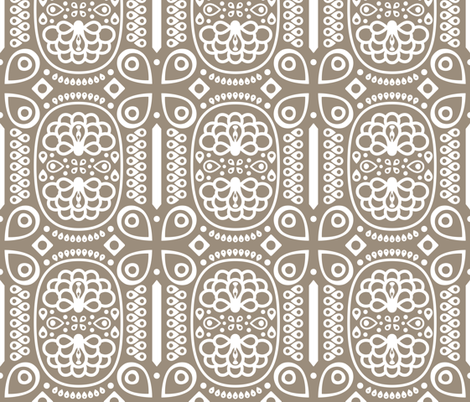Tribal Peacock - in Mushroom Gray fabric by katphillipsdesigns on Spoonflower - custom fabric