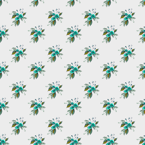 Roses Antique Small print blue fabric by joanmclemore on Spoonflower - custom fabric