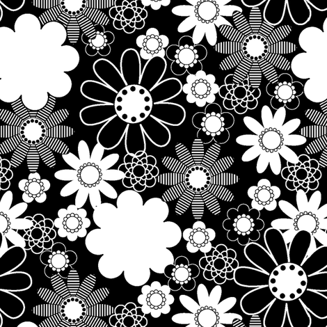 Daisy_Black and  White fabric by thornbirds on Spoonflower - custom fabric