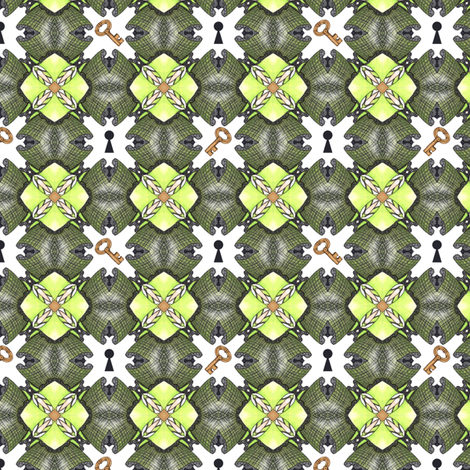 Lock and Key fabric by siya on Spoonflower - custom fabric