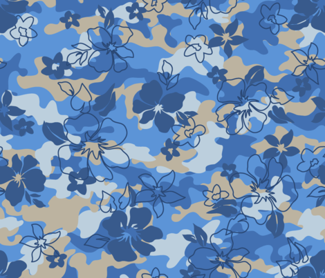 Blue_Camouflage fabric by thornbirds on Spoonflower - custom fabric