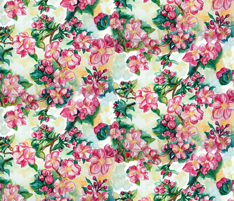 Apple_Blossoms fabric by beebumble on Spoonflower - custom fabric