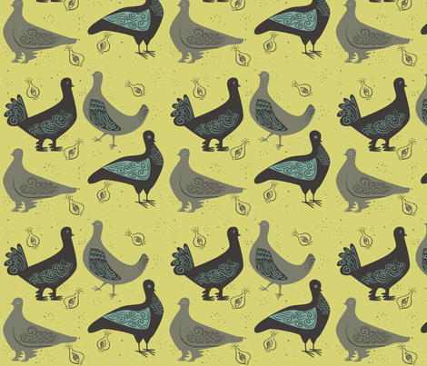 fancy_pigeons_on_gold fabric by antoniamanda on Spoonflower - custom fabric