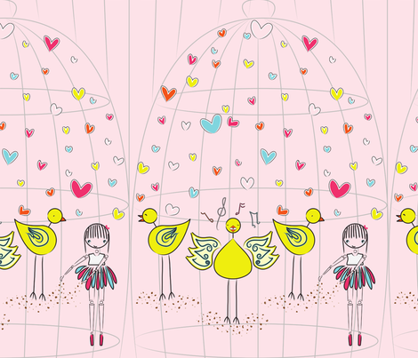Mary and the Canary - pink fabric by majobv on Spoonflower - custom fabric