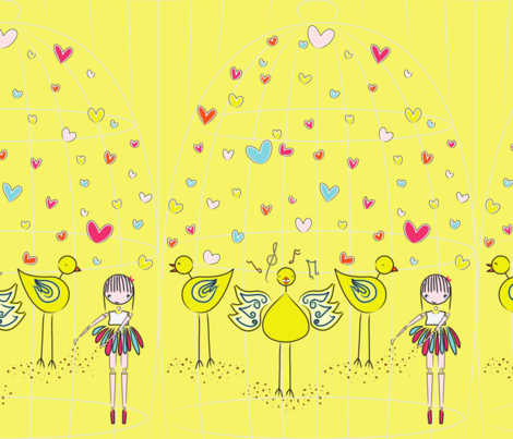 Mary and the Canary - yellow fabric by majobv on Spoonflower - custom fabric