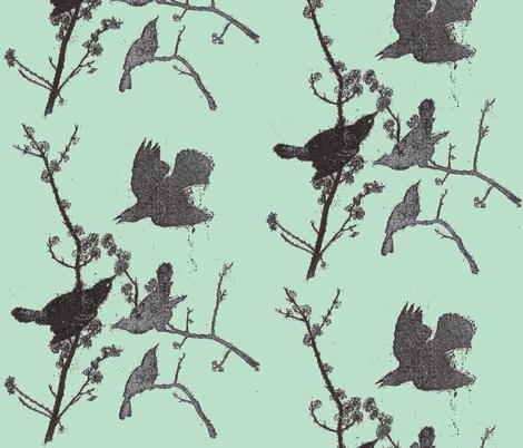 Blackbirds on Robins Egg Blue fabric by retrofiedshop on Spoonflower - custom fabric