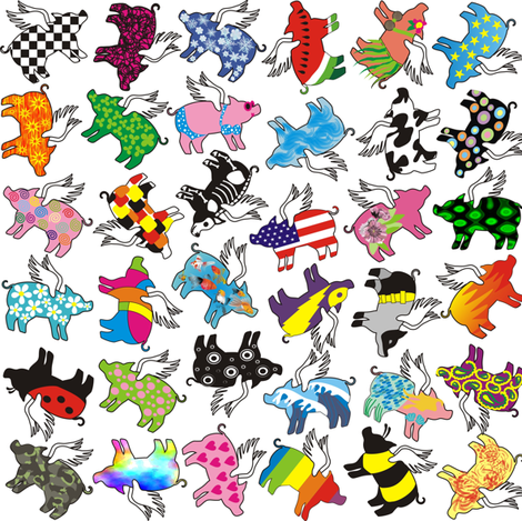 randomized flying pigs fabric by valcheck on Spoonflower - custom fabric