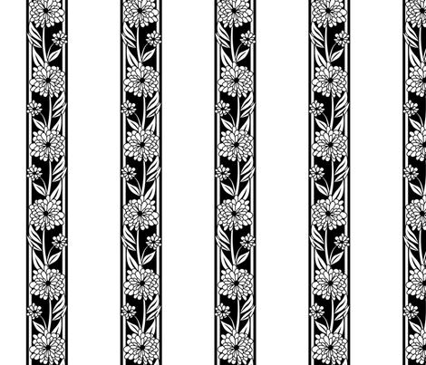 Spanish_Floral_Stripe_WHITEBLACK fabric by fuzzyskyfabric on Spoonflower - custom fabric