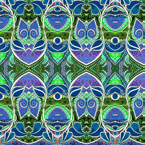 Whoooo Are You (hidden owls color 3) fabric by edsel2084 on Spoonflower - custom fabric