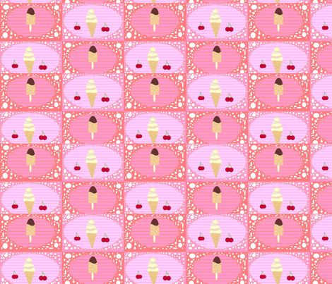 Icecream_checkers_board_2 fabric by cassiebooth on Spoonflower - custom fabric